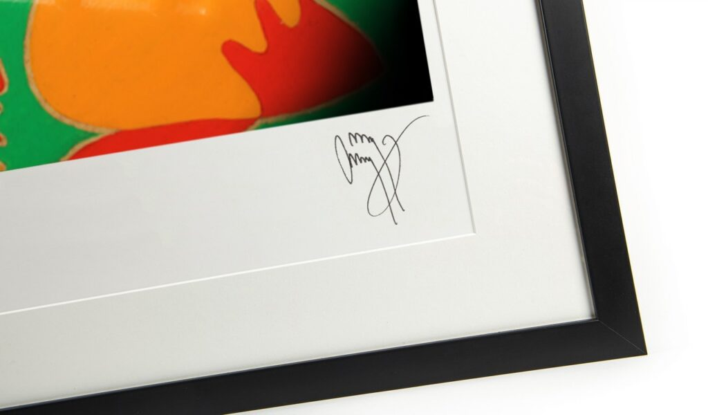 Jimmy Page's signature on a fine art print of his Fender Dragon Telecaster guitar